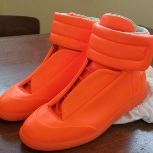 Maison Margiela Paris Neon Orange Leather Hi Tops